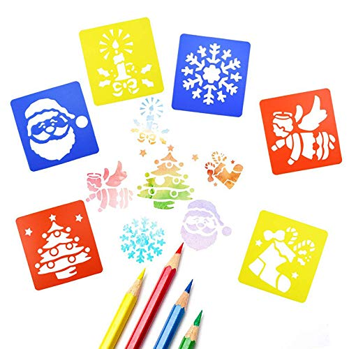 Frmarche 6 Stencil Natalizi da Disegno per Bambini, in plastica, Modello Riutilizzabile, per Pittura, diario, Scrapbooking, Fai da Te