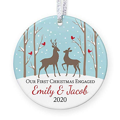 Our First Christmas Engaged Ornament 2020, Personalized Christmas Ornament For Couple with Deer, Newly Engaged Gift - 3' Flat Circle Porcelain Ornament - Gold & Silver Ribbon | PGM-OR-19b