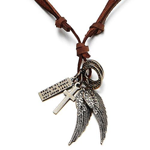 COOLSTEELANDBEYOND Estilo Retro, Alas de ángel y Cruz, Collar con Colgante de Hombre Mujer, con Marrón Cordón de Cuero Ajustable