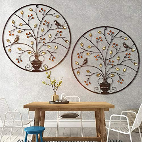 Metall-Wandbild Wanddekoration, Wandbild Metallbild 3D Metal Round Wall Decor with Tree and Birds Art Für Die Natur Home Art Dekoration & Küche Gesche