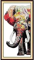クロスステッチキット初心者の強い象のプレプリントパターンカウント刺繡スターターキット初心者の子供と大人のための-(刻印生地11Ct)-40X50Cm