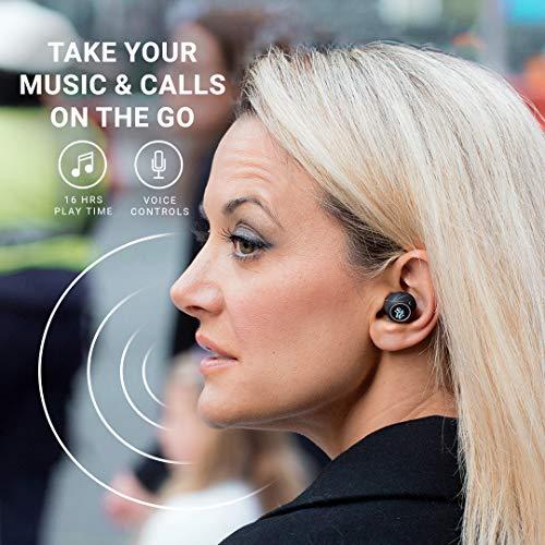 Strauss & Wagner SW-TW401 audífonos aislantes de sonido inalámbricos con control de voz, micrófono integrado, funda de carga