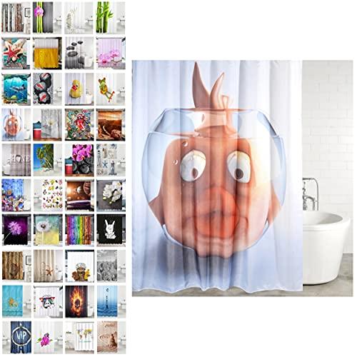 Sanilo Duschvorhang, viele schöne Duschvorhänge zur Auswahl, hochwertige Qualität, inkl. 12 Ringe, wasserdicht, Anti-Schimmel-Effekt (Goldfisch, 180 x 200 cm)