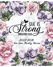 She is Strong, Prov. 31:25: 5 Year Christian Planner 2022-2026 Monthly Calendar | Agenda Schedule Organizer with Bible Verse Quote | 60 Month Scripture Inspiration, Self Care Journal & Daily Personal Appointment | Notebook & Workbook Pastel Flowers Cover (2022-2026 Planners with Bible Verse)