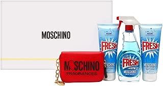 Moschino Moschino Fresh Couture for Women 4piece Hardbox Set (3.4 Oz Eau De Toilette Spray + 3.4 Oz Body Lotion + 3.4 Shower Gel + Red Leather Key Holder), 10.2 Oz