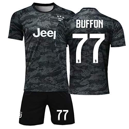 GHMEI Fan Boy Fußball Trikot Kinder Sets, Herren Fußballmannschaft Buffon Ronaldo Dybala Fußball Trikots T-Shirts Shorts Sportswear Uniform-#77-160