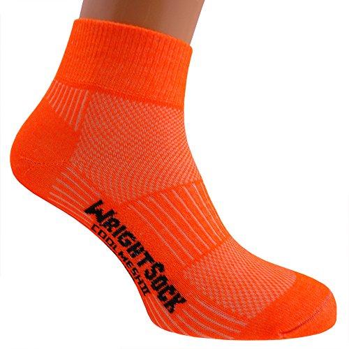 WrightSock Profi Sportsocke, Laufsocke Modell Coolmesh II in neon orange, Anti-Blasen-System, doppellagig, Quarter mittellang. L