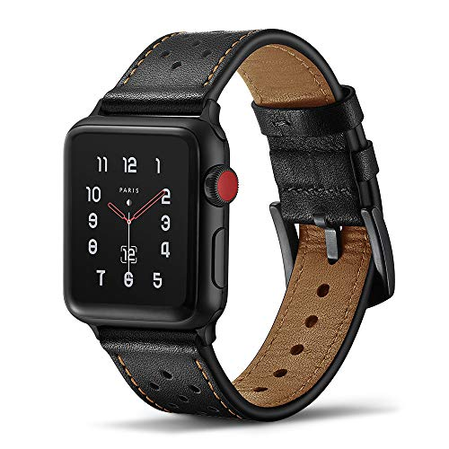 Tasikar para Correa Apple Watch 38mm 40mm Diseño de Cuero Genuino Compatible con Apple Watch Series 5 Series 4 (40mm) Series 3 Series 2 Series 1 (38mm) - Negro