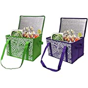 Earthwise Insulated Reusable Grocery Bag Shopping Box with Reinforced Bottom Panel and Zipper Top Lid with Extra Side Handles for Easy Lifting (Set of 2) (Green/Purple)