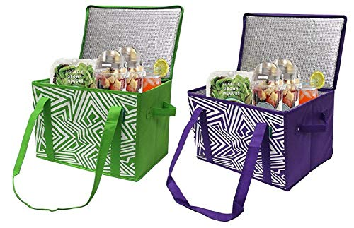 Earthwise Insulated Reusable Grocery Bag Shopping Box with Reinforced Bottom Panel and Zipper Top Lid with Extra Side Handles for Easy Lifting Set of 2 GreenPurple