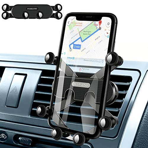 [PUDEGUND] Air Vent Car Phone Mount, Air Outlet Gravity Mount Invisible Cell Phone Holder for Car Fit for iPhone SE 9 11 Pro Max Xs XR X 8 7 6s Plus Samsung Galaxy S20 S10 S9 S8 S7 S6 S5 Note10 9 Etc.