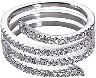 خاتم جينا هانتر CZ الأفعى غير نهائي للنساء 925 قاعدة من الفضة الإسترلينية مع أحجار زركون مكعب مقاسات 6-7