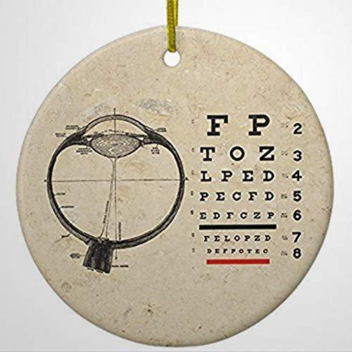 BYRON HOYLE Vintage Ophthalmologist Optometry Eye Chart Metal Ornament Circle Christmas Ornaments Pandemic Xmas Decor Wedding Ornament Holiday present