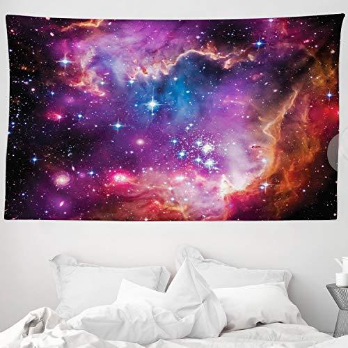 ABAKUHAUS Galaxis Wandteppich und Tagesdecke Magellansche Wolke Sternaus Weiches Mikrofaser Stoff 230 x 140 cm Farbenfest Waschbar Lila blau orange