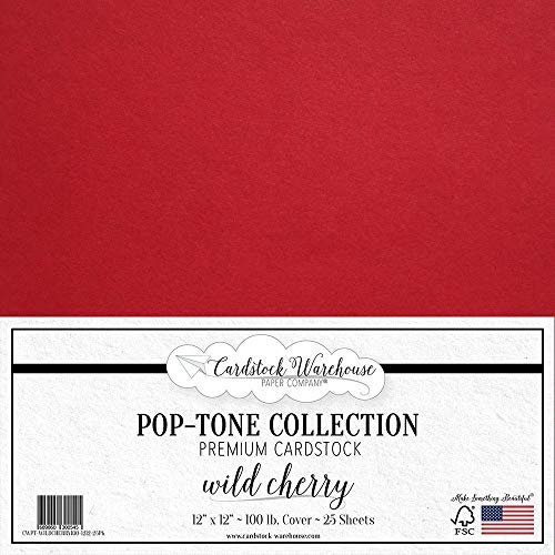 Wild Cherry Red Cardstock Paper - 12 X 12 Inch 100 Lb. Heavyweight Cover - 25 Sheets from Cardstock Warehouse