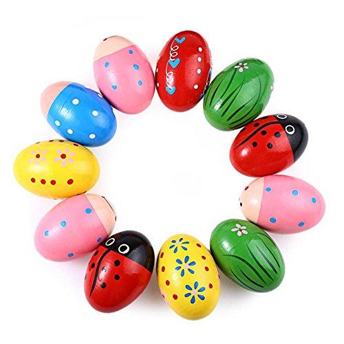 DaoRier legno uovo Maracas Shakers in legno sonaglio musicale Musica Strumenti Giocattolo per bambini, colore casuale