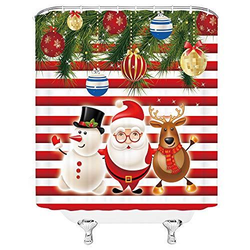 Xnichohe Duschvorhang Weihnachtsmann Schneemann Rentier Ball Rot & Weiß Streifen Hintergr& Heimdekoration Polyester Stoff Crutain mit 12 Haken 70 x 178 cm Badezimmer Zubehör Gardinen
