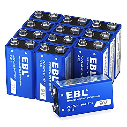 EBL 9 Volt Battery - Long Lasting 9V Alkaline Batteries