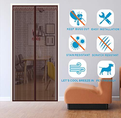Liveinu Cortina Mosquitera Magnética Para Puerta Ventana Mosquitera Para Puerta Ventana Protección Contra Insectos Magnético Mosquitera Puerta 90cm X 200cm Marrón