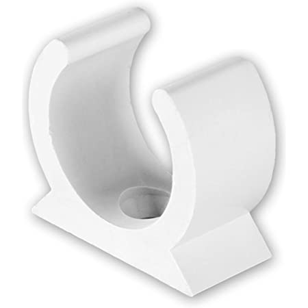 20MM /& 25MM WHITE PLASTIC HIGH IMPACT PVC SPRING CLIP SADDLE
