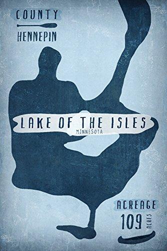 Lake of the Isles, Minnesota - Lake Essentials - Shape, Acreage and County (9x12 Art Print, Wall Decor Travel Poster)