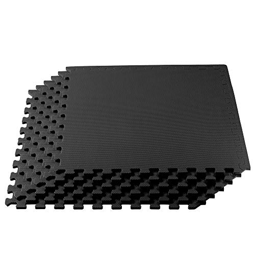 We Sell Mats 1/2 Inch Thickness Multipurpose EVA Foam Floor Tiles, Interlocking Floor Mat for Indoor Gym and Home Use, 24 in x 24 in, Black