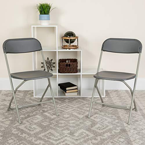 Flash Furniture 10 Pk. HERCULES Series 650 lb. Capacity Premium Grey Plastic Folding Chair