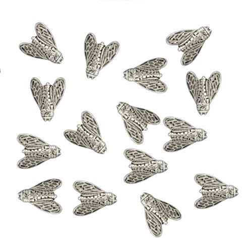 Closed Wing Bumble Bee Metal Push Pins, Silver Finish, Solid Metal, 15 Pieces