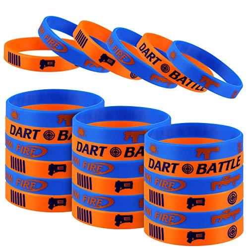 Dart War Party Fovor 24Pcs Dart Gun Themed Party Silicone Rubber Bracelet Wristbands Ideal for Dart War Birthday Party Supplies
