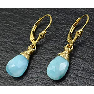 Handmade Larimar 14k Gold-filled Wire Wrapped Earrings