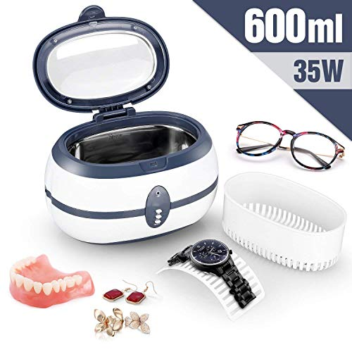 Ultrasonic Cleaner Uten 600ml Ultra Jewellery Cleaner with Cleaning Dentures Jewelry Glasses Watch Metal Coins Dentures