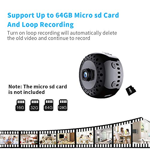 Mini Hidden Spy Camera 1080P Wireless WiFi Security Cam with Night Vision Motion Activated Small Nanny Cameras Video Audio Record with Phone App for Car Home Office and Indoor Use