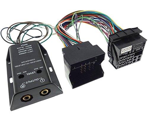 Quadlock Verstärker Adapter RCA 2X Kanal HIGH-Low Endstufe Cinch Kabel Most Stecker voll belegt