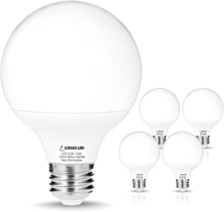LOHAS G25 Daylight 5000k LED Bulbs, 75W-100W Equivalent(12W Incandescent Bulbs Replacement), E26 Medium Screw Base, Globe Shape, 1200 Lumens, Non-Dimmable, Vanity Light Bulbs for Bedroom(4 Pack)