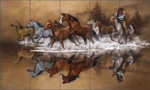 Western Cowboy Ceramic Tile Mural Backsplash 30