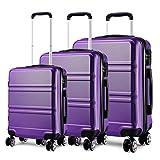 Kono Juego Set 3 Maletas Trolley Rígida ABS Equipajes de Viaje (55cm,66cm,74cm)-Morado