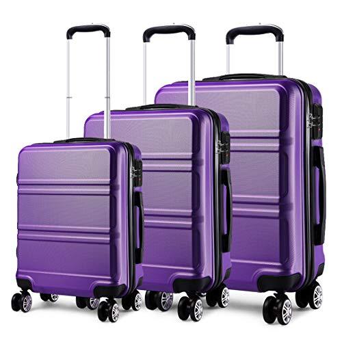 Kono Hartschalen Koffer Trolley Rollkoffer Reisekoffer 4 Zwillingsrollen 3er Kofferset in M-L-XL-Set (Violett)
