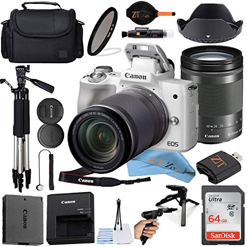 Canon EOS M50 Mirrorless Digital Camera (White) with18-150mm Zoom Lens + Sandisk 64GB Card, Tripod, Camera Case and ZeeTech Accessories (21pc Bundle) (SanDisk 64GB Bundle)