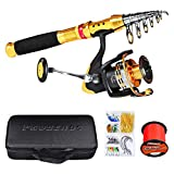 C0mdaba Fishing Rod and Reel Combos Full Kit Telescopic Fishing Pole with Spinning