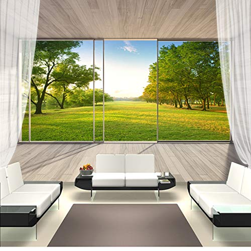 Anpassbare Größe Wandbild Tapete 3D Erweiterung Raum Balkon Außenfenster Wald Landschaft Wandmalerei Seidentuch Wandbilder 500(B) X280(H) Cm