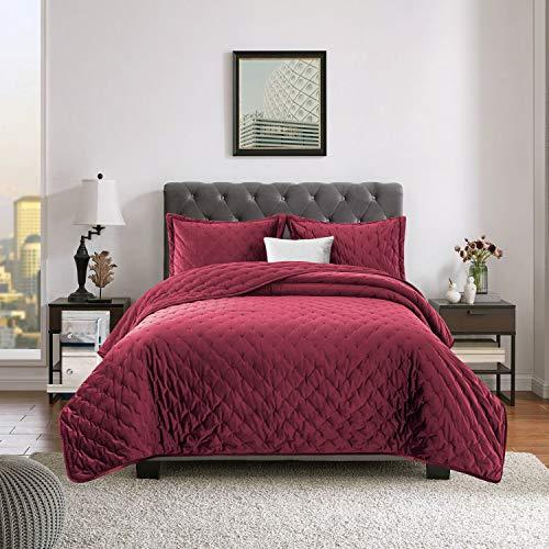 Yorkshire Bedding Gesteppte Tagesdecke Elegant Burgunder Bett Decken Bettwäsche Crushed Velvet 240x240 cm Bettüberwurf Mit Passender Kissenbezüge