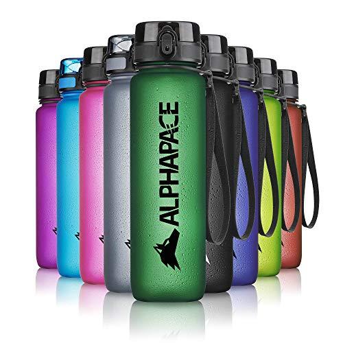 ALPHAPACE Trinkflasche, auslaufsichere 1.000 ml Wasserflasche, BPA-freie Flasche für Sport, Fahrrad & Outdooraktivitäten, Sportflasche mit Fruchteinsatz, in Dark-Green