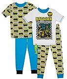 LEGO Batman Pajama 4 Piece Set Glow in The Dark Batman Print Pajama for Boys Sizes 4-10 Blue