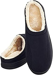 festooning Men's Comfort Memory Foam Slippers Fuzzy Plush Slip-on Clog House Shoes Indoor & Outdoor Sole