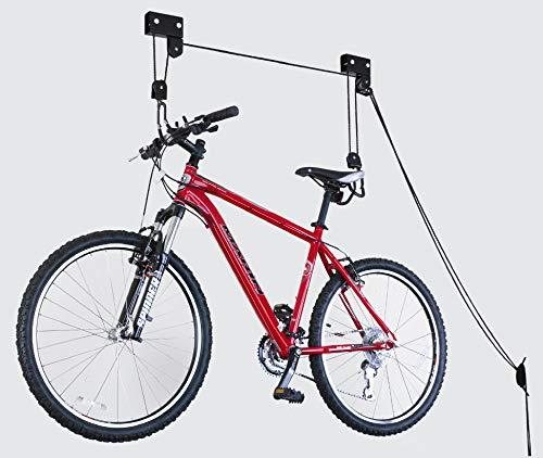 HARTOOL Fahrradlift bis 57 kg Fahrradhalter Zur Deckenmontage Leichtgängiger Seilzug mechanisch für E-Bike Kajak Bike Gepäck Dachbox für Garage Keller Wohnung und Haus