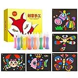 Kit de arte de papel de arte de cuadros de pintura de arena con arena de 12 colores y tarjetas de pintura de 24 piezas para niños y niños pequeños Manualidades Suministros Estilo A