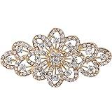 EVER FAITH Broche para Mujer Cristal Austríaco 4 Inch Flor Filigrana Boda Claro Tono Dorado