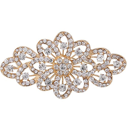 EVER FAITH 4 Inch Bridal Gold-Tone Flower Ribbon Brooch Clear Austrian Crystal