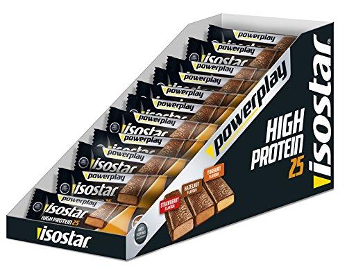 Isostar High Protein 25 – 30 x 35 g scatola di barrette proteiche (1.050 g) – 25% di proteine per barretta energetica, barrette proteiche per sviluppare la muscolatura, yogurt e frutta