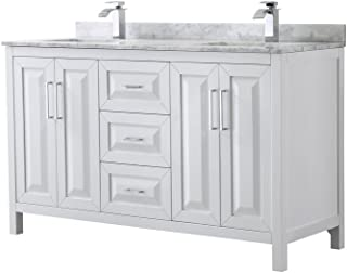 Wyndham Collection Daria 60 inch Double Bathroom Vanity in White, White Carrara Marble Countertop, Undermount Square Sinks, and No Mirror